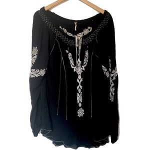 Free People Boho Black Embroidered Blouse Top